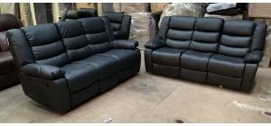 Black Bonded Leather 3 + 3 Sofa Set Manual Recliners With Drinks Holders Ex-Display Showroom Model 46913