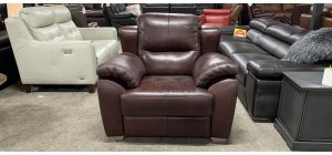 Sassi Brown Sisi Italia Semi-Aniline Leather Armchair With Wooden Legs - Scuff On Right Front Arm (see images) Ex-Display Showroom Model 46927