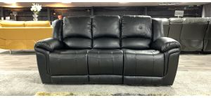 Kent Black Bonded Leather Large Sofa Electric Recliner Ex-Display Showroom Model 46933