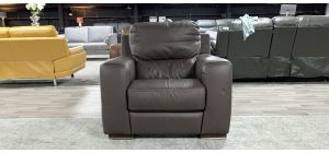 Brown Sisi Italia Semi-Aniline Leather Electric Recliner Armchair Ex-Display Showroom Model 46946