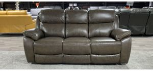 Rivoli Tone Grey High Quality Leather Large Manual Recliner Sofa Ex-Display Showroom Model 46949