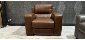 Lucca Brown Leather Armchair Electric Recliner Sisi Italia Semi-Aniline Ex-Display Showroom Model 46956