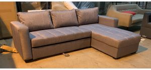 Grey RHF Fabric Chaise Corner Sofa Bed With White Stitching - Few Marks (see images) Ex-Display Showroom Model 46961