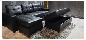Black Lhf Chaise Corner Sofa With Large Storage Footstool Ex-Display Showroom Model 46993