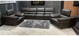 Valencia Brown Leather 5 Seater With Chaise + 1 + 1 Sofa Set - 6cm Tear On Rear Of 5 Seater (see images) Ex-Display Showroom Model 46999