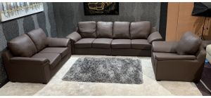 Brown Bonded Leather 4 + 2 + 1 Sofa Set Ex-Display Showroom Model 47006