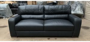 Lucca Black Leather Large Sofa Sisi Italia Semi-Aniline Ex-Display Showroom Model 47007