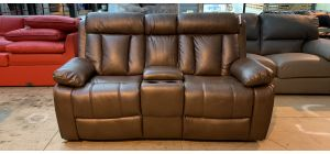 Somerton Brown Leathaire Regular Manual Recliner Sofa With Drinks Holders Ex-Display Showroom Model 47014