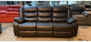 Large Brown Bonded Leather 3 Seater Manual Recliner Sofa Ex-Display Showroom Model 47015