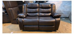 Brown Bonded Leather Regular Sofa Manual Recliner Ex-Display Showroom Model 47017