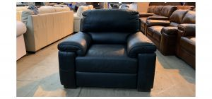 Majori Black Leather Armchair Sisi Italia Semi-Aniline Few Scuffs (see images) Ex-Display Showroom Model 47021