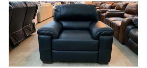 Majori Black Leather Armchair Sisi Italia Semi-Aniline Few Scuffs (see images) Ex-Display Showroom Model 47023
