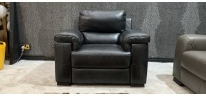 Majori Black Leather Armchair Electric Recliner Sisi Italia Semi-Aniline Few Scuffs (see images) Ex-Display Showroom Model 47031