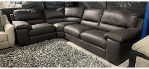 Napoli Brown LHF Bonded Leather Corner Sofa 1c2 With Wooden Legs - Ex-Display Showroom Model 47037