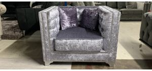 Purple Studded Square Arm Fabric Armchair With Chrome Legs And Cushions - Ex-Display Showroom Model 47038