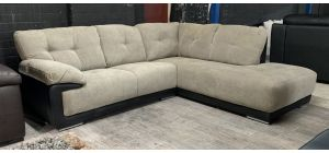 Alexis Mink And Black RHF Fabric Corner Sofa With Chrome Legs - Back Right Damage 5cm Wooden Frame Dent - Not Structural (see images) Ex-Display Showroom Model 47040