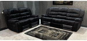 Black Fabric 3 + 2 Manual Recliner Sofa Set Ex-Display Showroom Model 47041