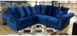 Blue Studded Round Arm 2C2 Fabric Corner Sofa With Chrome Legs And Scatter Back - Ex-Display Showroom Model 47042