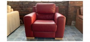 Lucca Red Leather Armchair Electric Recliner Sisi Italia Semi-Aniline **No Power Pack Supplied - Ex-Display Showroom Model 47045