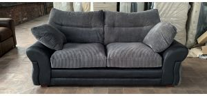 Juno Grey And Black Large Fabric Sofa With Wooden Legs Ex-Display Showroom Model 47049