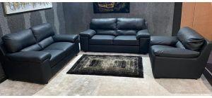 Napoli Black Bonded Leather 3 + 2 + 1 Sofa Set Ex-Display Showroom Model 47058