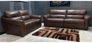 Brown Sisi Italia Semi-Aniline Leather 4 + 2 Sofa Set Ex-Display Showroom Model 47059