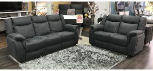 Brooklyn Dark Grey Fabric 3 + 2 Static Sofa Set