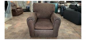Brown Round Arm Fabric Armchair Ex-Display Showroom Model 47068