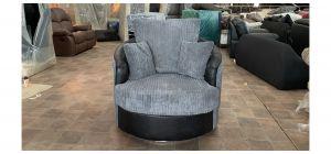 Grey And Black Jumbo Cord Fabric Swivel Armchair Ex-Display Showroom Model 47069