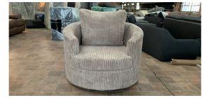 Beige Jumbo Cord Fabric Swivel Chair Ex-Display Showroom Model 47073