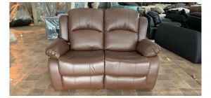 Brown PU Regular Manual Recliner Sofa - 2cm Tear On Left Arm (see images) Ex-Display Showroom Model 47075