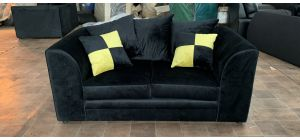 Nero Black Regular Fabric Sofa With Cushions - Ex-Display Showroom Model 47076