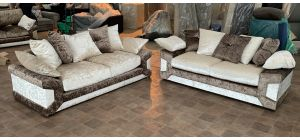 Mink And Cream 3 + 2 Fabric Sofa Set With Scatter Back Ex-Display Showroom Model 47080