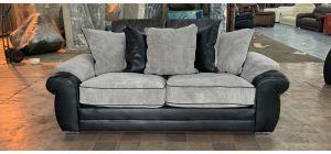 Lux Black Fabric Large Sofa Chrome Legs Ex-Display Showroom Model 47082