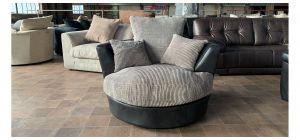 Black And Mink Fabric Swivel Chair Ex-Display Showroom Model 47086