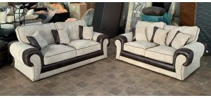 Beige Round Arm 3 + 2 Fabric Sofa Ex-Display Showroom Model 47088