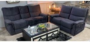 Amelia Metal Grey 3 + 2 Sofa Set Fabric Manual Recliners