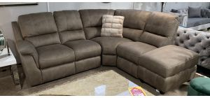 Vancouver Mushroom RHF Fabric Corner Sofa With Power Recliner And Chaise - Ex-Display Showroom Model 47092