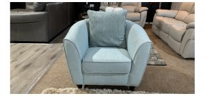 Turquoise Fabric Armchair With Wooden Legs - Mark On Right Arm (see images) Ex-Display Showroom Model 47093
