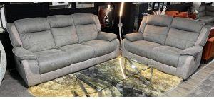 Paige Grey Fabric 3 + 2 Manual Recliner Sofa Set - Ex-Display Showroom Model 47094