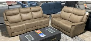 Francis 3 + 2 Brown Fabric Electric Recliner Sofa Set With USB