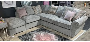 Flair Grey LHF Fabric Corner Sofa With Chaise - Round Studded Arm Details With Scatter Back And Chrome Legs