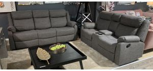 Prive Grey Fabric 3 + 2 Manual Recliner Sofa Set With Drinks Holder And White Stitching