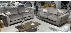 Jagger Grey 3 + 2 Fabric Sofa Set With Silver Arm Detail and Chrome Legs