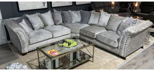 Vesper Grey 2C2 Fabric Corner Sofa With Round Studded Arm Detail - Scatter Back And Wooden Legs
