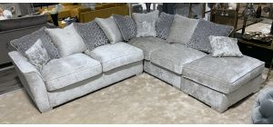 Wimslow Grey RHF Fabric Corner Sofa With Scatter Back And Chrome Legs