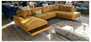 Elysian Mustard Fabric Large Corner Group With Glass Detail Chaise Section And Chrome Legs