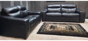 Venezia Black Leather 3 + 2 Sofa Set Sisi Italia Semi-Aniline Wooden Legs Ex-Display Showroom Model 47102
