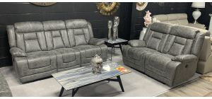 Diamond Grey Fabric 3 + 2 + 1 Sofa Set Electric Recliner