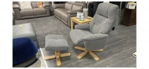 Dubai Grey Accent Fabric Armchair With Wooden Legs And Footstool Available In A Range Of Colours - Call For More Info